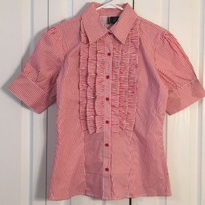 Passport red & white ruffled front button down SzL
